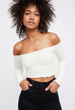 NEW Free People Intimately Textured Long Sleeve Crop Top White XS/S-M/L $54.11