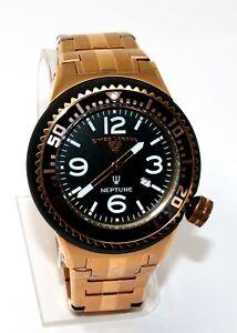 Swiss Legend Men's Neptune Black Rose Gold Stainless Steel Quartz Watch 21818