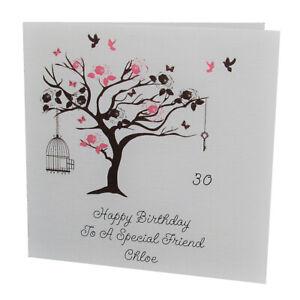 HANDMADE PERSONALISED Bird Tree FEMALE Relation BIRTHDAY CARD 18th 21st 30th
