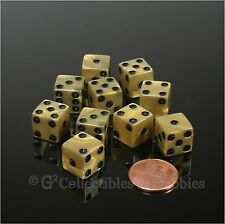 NEW 10 Olympic Gold 12mm Dice Set D&D RPG Game Pearlized D6 1/2 inch Six Sided