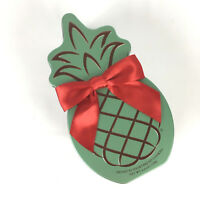 Honolulu Cookie Pineapple Shaped Tin Empty Brown Red Ribbon Bronze Green Cookie