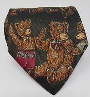Cravatta Moschino 100% pura seta tie silk original made in italy handmade orso