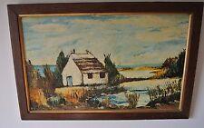 Tableau paysage de la Camargue, peinture à l'huile sur bois, signée Dumilieu