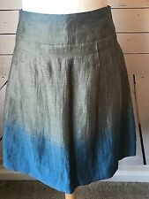 Vince size 2 pleated skirt blue silver gray linen cotton full flared pin stripe