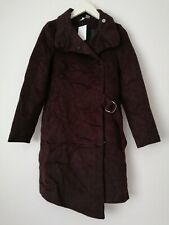 H&m Burgundy coat with waist buckle tie UK Size 8 EUR 34