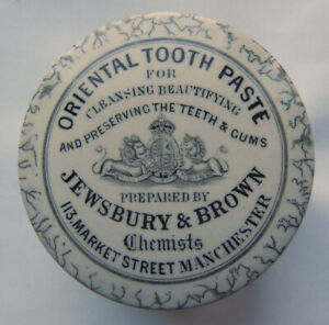 Large size Jewsbury & Brown Manchester Tooth paste pot lid + base c1890's