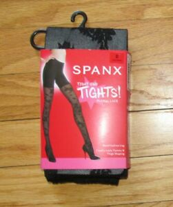 Spanx Womens Very Black Floral Lace Tight-End Tights C,  D NIP 20297R