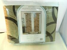 "METRO Flocked Panel Curtains 2 Panels 80 x 84"" Tan / Dk Brown Polyester New"