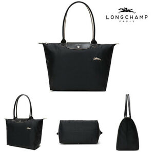 Hot New Longchamp Le Pliage Tote Bag Nylon Shopping Handbag BLACK SIZE L & M