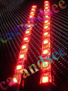 2 ECLAIRAGES TUNING BANDE A 9 LED ROUGE 15 CM SMD5050 12V INTERIEUR EXTERIEUR