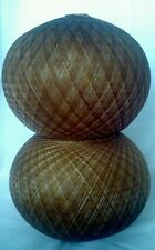 "Pair 9"" Spaghetti String Lamp Shades Lucite Spun Large Round Sphere Pole Pendant"