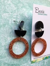 Acrylic Dangle Earrings Black & Rose Gold Glitter, Surgical Steel Stud Statement