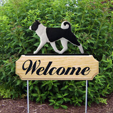 Akita Wood Welcome Outdoor Sign Black/White