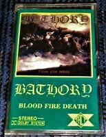 Black Metal BATHORY Blood Fire Death VG Cassette Tape Hard to Find TACT