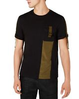 INC Mens T-Shirt Green Black Size Large L D-Ring Buckle Colorblock Tee $29 #059