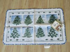 New Vintage Home Quarters Oh Christmas Tree Door Mat Rug Blue, Silver & White