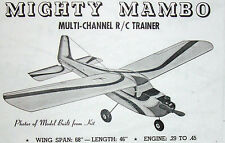 "Vintage MIGHTY MAMBO 68"" Early Days of RC Model Airplane PLANS + Parts Patterns"