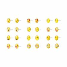 Various Emoji Funny Face Set of 12 Iron and Resin Studded Earrings By Joe Cool