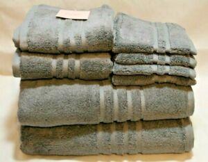 Kate Spade Eight Piece Bathroom Towel Set Solid Gray 100% Cotton New