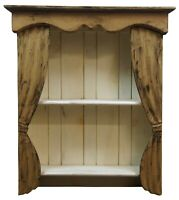 Antique Painted Pine Proscenium Curtain Wall Curio Shelf Theater Bookcase 35""