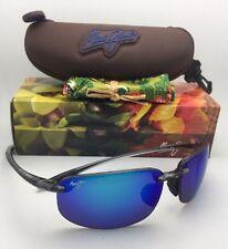 Polarized MAUI JIM Sunglasses HO'OKIPA MJ 407-11 Smoke Grey w/Blue Hawaii Mirror