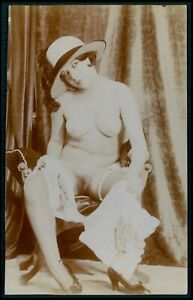 French full nude woman Grundworth ? original 1920s Citrate photo postcard