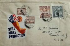 MALTA 1945 CENSORED COVER TO UNITED STATES WITH TIED U. S. PATRIOTIC LABEL