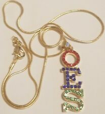 """OES Drop Letter Gold Tone Necklace - Red, Royal, Green 2.5"""" T - Eastern Star"""