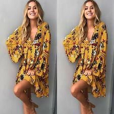 Women Boho Floral Long Sleeve Evening Party Cocktail Beach Mini Dress Sundress