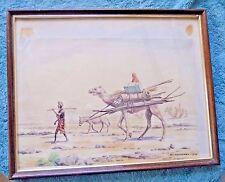 VINTAGE WATER COLOR PAINTING  ROMAGNOLI SAUDI ARABIA TRANSPORTATION CAMEL 1945