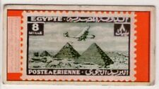 Egyptian Gizeh Pyramids on 1933-38 Egypt Postage Stamp Vintage Trade Card
