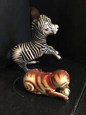 B53) Vintage Zebra AND Cat Tin Wind Up Toys No Key