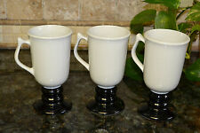 Vintage Hall Gray Black Pedistal Irish Coffee Mugs 1273