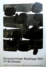 Soulages Pierre Affiche originale Lithographie 1964 Art Abstrait Abstraction