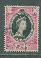 Perak Coronation 10c 1953 used