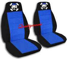2 Black and Medium Blue Girly Skull with Bowtie Velvet Seat Covers Universal Siz
