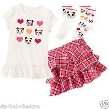 NWT Gymboree PANDA ACADEMY Outfit,Top,Shirt,Skort,Skirt,Socks,Adj Waist,Size 6
