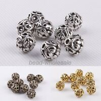 10Pcs Silver/Gold/Bronze Tibetan silver Round Shaped Hollow Spacer Bead Findings