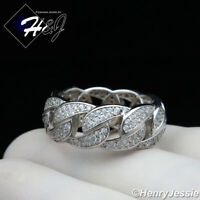MEN WOMEN 925 STERLING SILVER LAB DIAMOND 10MM BLING CUBAN CURB LINK RING*SR122