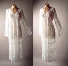 Victorian Boho Wedding Gown Maxi 265 mv Embroidered Sheer White Lace Dress S M L