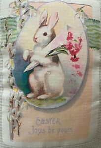 """Vintage Easter Postcard Graphic on Accent Throw Pillow 16 x 13"""" Cover w Insert"""