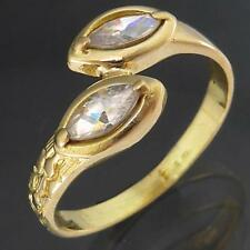 Italian Double Snakehead Bypass Solid 18k Yellow GOLD 2 CUBIC ZIRCONIA RING Sz O