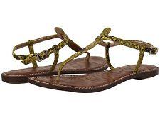 NEW SAM EDELMAN Gigi Sandal, Chartreuse Glow Shiny Python Leather, Women Size 6