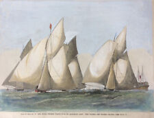c1867 SAILING MATCH Off Thames Haven ROYAL THAMES YACHT CLUB, original woodcut