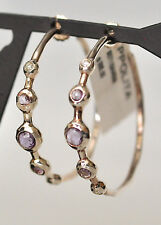 Ippolita Hoop Earrings Amethyst Diamond Sterling Silver Leather Keychain Pouch
