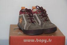 BOPY -  Zeclair- Chaussures Basket bébé Mixte -  Cuir Velours Taupe- T 22  neuf