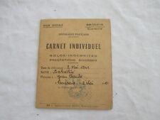 carnet individuel de solde de soldat 1961 indemnités en savon et en tabac