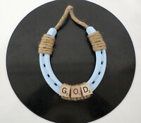 Baby Room Gift Western Horseshoe Wall Plaque, Blue with GOD Scrabble Tiles