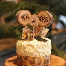 3Pcs Wood Mr & Mrs Wedding Cake Toppers Pick Anniversary Party Favors Decor Set