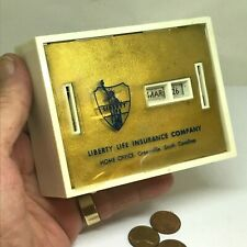 Vintage Liberty Life Insurance Company Bank. Coin Calendar. Great Collectible!